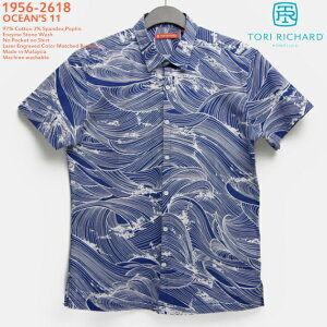 アロハシャツ|トリリチャード(TORI RICHARD)|tori-56-2618 Ocean's 11(オーシャンズイレブン)|ミッドナイト|メンズ|コットン97% スパンデックス3%(ストレッチ素材)|ノーマル襟|スリムフィット|胸ポケット無し|半袖|アロハタワー(アロハシャツ販売)