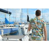 アロハシャツ|トリリチャード(TORIRICHARD)|tori-56-1771BOATDAYALOHA(ボートデイアロハ)|ラグーン|メンズ|コットン・ローン100%|ノーマル襟(レギュラーカラー)|オレンジレーベル:スリムフィット|フルオープン|半袖|アロハタワー(アロハシャツ販売)