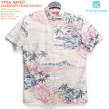 アロハシャツ|トリリチャード(TORIRICHARD)|tori-56-ME07DIAMONDHEADSCENIC(ダイヤモンドヘッドセニック)|グレイ|メンズ|コットン・ローン100%|ノーマル襟|オレンジレーベル:スリムフィット|フルオープン|半袖|アロハタワー(アロハシャツ販売)