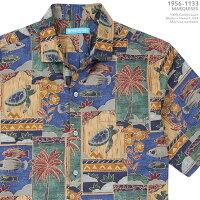 トーリリチャード(TORIRICHARD) アロハシャツ tori-1133MARQUISES(マルキーズ) ブルー コットン・ローン100%(CottonLawn100%) ノーマル襟(レギュラーカラー) フルオープン 半袖