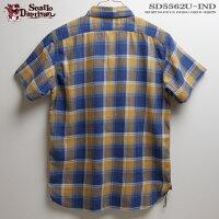 アロハシャツ|ステュディオ・ダ・ルチザン(STUDIOD'ARTISAN)|SD5562かせ染めインディゴシャツ|チェックブリーチ|コットン100%|ノーマル襟(レギュラーカラー)|フルオープン|半袖|アロハタワー(アロハシャツ販売)