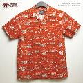 アロハシャツ|ステュディオ・ダ・ルチザン(STUDIOD'ARTISAN)|豚アロハSD5585オリジナルアロハシャツ(ORIGINALALOHASHIRT)ハワイ豚|オレンジ|コットン100%(Cotton100%)|開襟(オープンカラー)|フルオープン|半袖|アロハタワー(アロハシャツ販売)