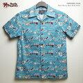 アロハシャツ|ステュディオ・ダ・ルチザン(STUDIOD'ARTISAN)|豚アロハSD5585オリジナルアロハシャツ(ORIGINALALOHASHIRT)ハワイ豚|サックス|コットン100%(Cotton100%)|開襟(オープンカラー)|フルオープン|半袖|アロハタワー(アロハシャツ販売)