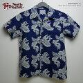 アロハシャツ|ステュディオ・ダ・ルチザン(STUDIOD'ARTISAN)|豚アロハSD5530フラワー(ORIGINALALOHASHIRTSFLOWER)|インディゴ抜染|コットン100%(Cotton100%)|開襟(オープンカラー)|フルオープン|半袖|アロハタワー(アロハシャツ販売)