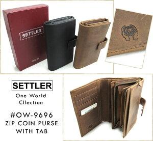 ≪セトラー≫ SETTLER #OW-9696 Zip Coin Purse With Tab タブ付き財布 ワンワールドコレクション 本革 オイルドレザー ブラウン ブラック WhitehouseCox ホワイトハウスコックスの2ndライン! (送料無料/