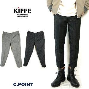 【50%OFF】(キッフェ) KIFFE Men's #Ankle Tapered Pants ≪ChalkStripe≫(メンズ/チョークストライプ柄/テーパードパンツ/9分丈/グレー/ブラック/ウール/ボトムス/タイト/アンクル/クロップドパンツ/K15SB-02TW/送料無料/セール)