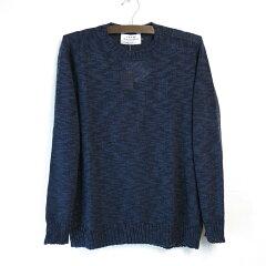 James Charlotte Linen Cotton Crewneck Sweater: Navy