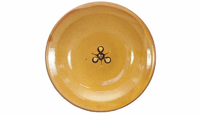 湯町窯 中皿15cm 花紋濃茶 黄釉
