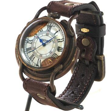 """【あす楽】ARKRAFT(アークラフト) 手作り腕時計 """"Curtis jumbo """" ローマ数字 プレミアムストラップ プエブロ ブラウン [AR-C-002-RO-P-BROWN] 新木秀和 ハンドメイドウォッチ メンズ レディース 本革 アンティーク調 真鍮 クオーツ アナログ 日本製 国産"""