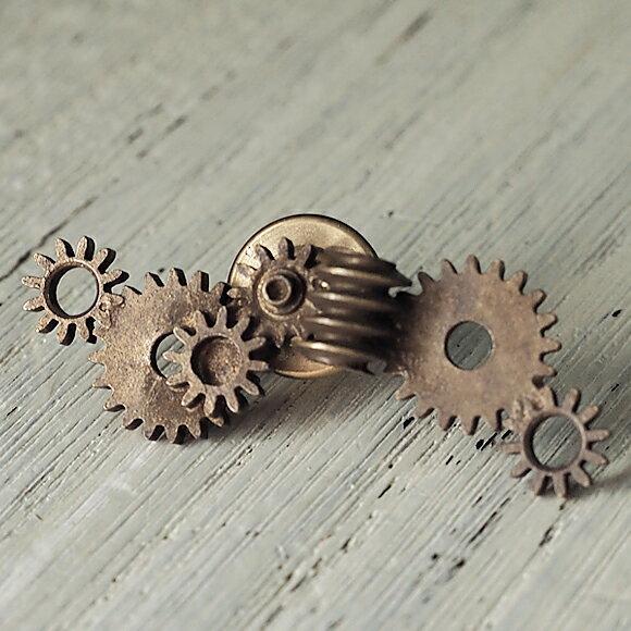 メール便 JOIEINFINIEDESIGN(ジョイアンフィニィデザイン)手作りアクセサリー歯車ピンバッジ H-003 時計作