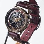 KINO(キノ) 手作り腕時計 自動巻き 裏スケルトン メカニックブラック ワインブラウン [K-15-WINE] 時計作家 木野内芳祐 機械式腕時計 ハンドメイド ウォッチ ハンドメイド腕時計 両面スケルトン メンズ レディース 牛革 アンティーク調 レトロ 日本製 国産