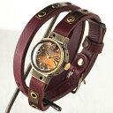 Mari Goto(マリゴトー) 手作り腕時計 Hole 2重巻きベルト [MG-006] 時計作家 後藤麻理 ハンドメイド ウォッチ ハンドメイド腕時計 レディース ダブルストラップ ワイン ダークブラウン ブルー ベージュ 真鍮 アンティーク調 カジュアル クォーツ クール 日本製 国産