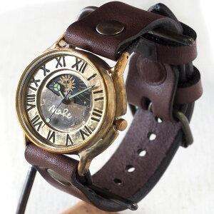 """渡辺工房 手作り腕時計 """"J.B. SUN&MOON"""" ジャンボブラス [NW-JUM31-SM] 時計作家・渡辺正明さんのハンドメイド ウォッチ ハンドメイド腕時計 手作り時計 メンズ レディース 本革ベルト 真鍮 アンティーク調 レトロ アナログ 日本製 刻印・名入れ無料"""
