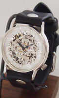 渡辺工房手作り腕時計手巻き式裏スケルトンジャンボシルバー[NW-SHW078]