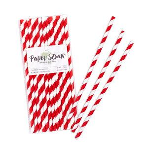 ペーパーストロー紙ストロー[レッドストライプ]25本入/PaperStrawsRedStripe25pcs