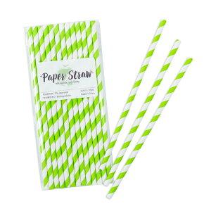 ペーパーストロー紙ストロー[キウイストライプ]25本入/PaperStrawsKiwiStripe25pcs
