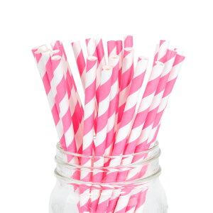 ペーパーストロー紙ストロー[ストロベリーストライプ]25本入/PaperStrawsStrawberryStripe25pcs