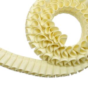 グログラン[プリーツ]リボン2cm幅バターミルク1m(カット組み合わせ売り)/Grosgrain20mm[Pleated]RibbonButterMilk1m