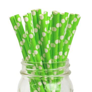 [SUPER PRICE] ペーパーストロー 紙ストロー キウイ リバースドット 25本入 Paper Straws Reverse Polka Dot Kiwi 25pcs