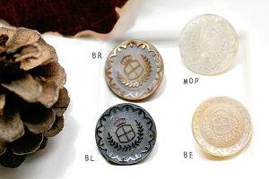 本物の貝にレーザー彫刻した裏穴ボタンP−81215mm