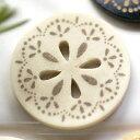 メーカー直営 ルックウェルのデザインボタン本水牛、ヤシをレーザー彫刻でアレンジした丸型ボ...