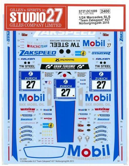 車・バイク, レーシングカー 124 Mercedes SLS Team Zakspeed27 Nurburgring24h 2015 (F124 SLS GT3