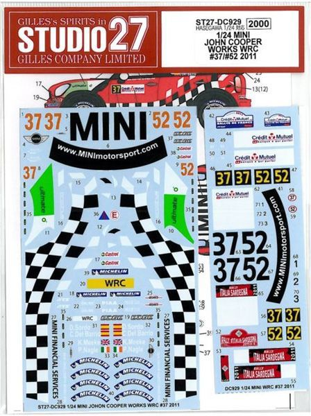 車・バイク, レーシングカー 124 MINI JOHN COOPER WORKS WRC 3752 2011 (H124