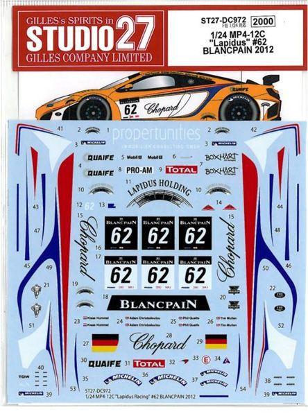 車・バイク, レーシングカー 124 MP4-12C Lapidus62 BLANCPAIN 2012(F124
