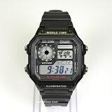 【送料無料】【キャッシュレス5%還元対象】CASIO カシオ デジタル 腕時計 AE-1200WH-1A AE1200WH-1A チープカシオ チプカシ 学生 男性 女性 メンズ レディース 腕時計 ブラック 黒 10気圧防水 ワールドタイムなど多機能