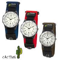 4d5a187b3c 【ポイント5倍】[安心の日本正規品] カクタス CACTUS 腕時計 キッズ CAC-65 CAC65M03(ブルー) CAC65M07(レッド)  CAC65M12(カーキ)全3色 100m 防水 機能 マジックテープ ...