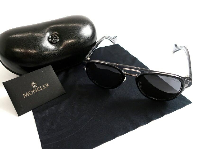 MONCLER モンクレール イタリア製 19AW ML0020 05A パイロット スモークレンズ サングラス メガネ 定4.5万 ブラック▲078▼91113k11