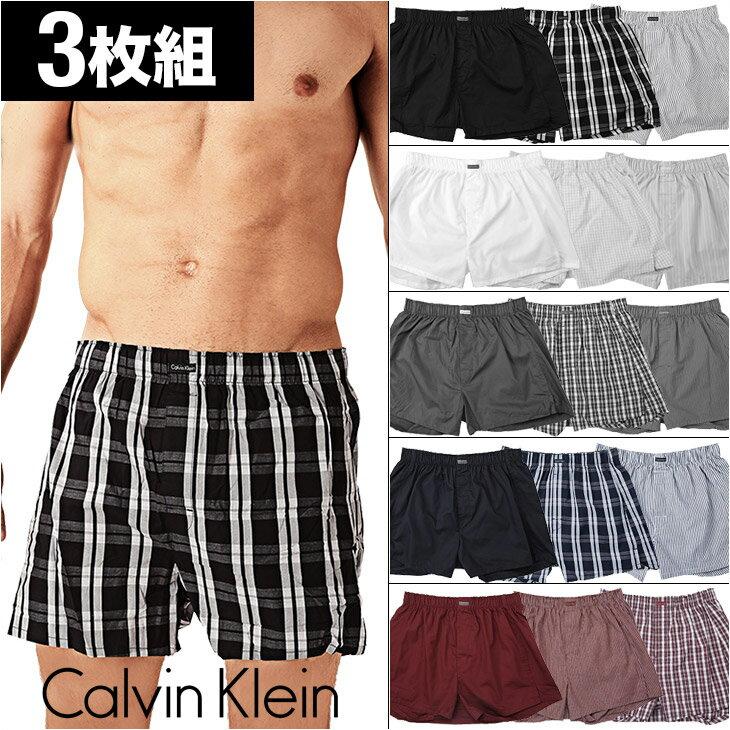 ポイント5倍!【3枚組セット】カルバンクライン トランクス メンズ woven Calvin Klein 下着 パンツ 無地 チェック柄 CK カルバン 前開き 福袋 誕生日プレゼント 男性 彼氏 父 ギフト