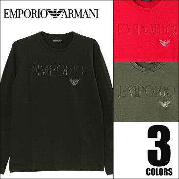 エンポリオ アルマーニ ロンT メンズ 長袖 Tシャツ クルーネック カットソー トップス ブランド ロゴ ワンポイント HIGH LOGO BAND EMPORIO ARMANI 誕生日プレゼント 彼氏 父 男性 旦那 ギフト