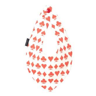 花嬰兒泰國撲克牌紅花紋印花大手帕型★口水巾Bib有機棉布嬰兒口水漂亮的嬰兒分娩祝賀祝賀男人的子女的孩子[milcotton]