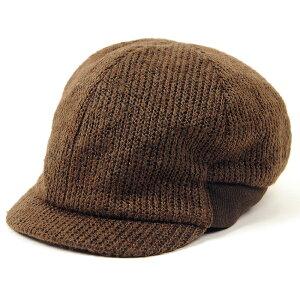 大きいサイズ メンズ 帽子 キャスケット リブニットキャップ BIGWATCH(ビッグワッチ) ブラウン つば 短い RCP-05