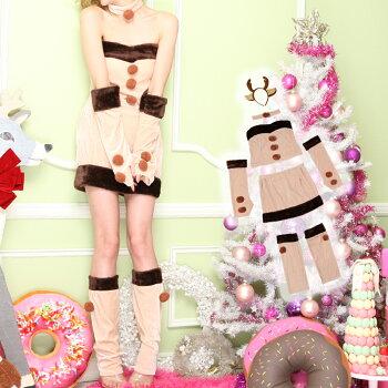 トナカイコスプレコスチューム衣装クリスマス着ぐるみ激安仮装コスワンピーストナカイコスプレトナカイコストナカイコスチュームクリスマスコスプレクリスマスコスチュームパーティセクシーサンタクロースサンタサンタコス2016レディースファッション