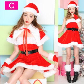 サンタコスプレ激安サンタコスクリスマスサンタクロースコスチュームトナカイツリー衣装大きいサイズ長袖半袖コスセクシーパーティサンタコスプレサンタコスチュームクリスマスコスプレサンタ帽子ケープポンチョ赤レッド2016レディースファッション