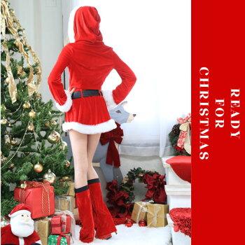 サンタコスプレ長袖激安サンタコスコスチュームクリスマス衣装セクシーサンタクロースパーティ大きいサイズコスサンタコスプレフードパンツレッグウォーマーパーティー・イベント用品・販促品コスプレ・変装・仮装レディースサンタクロース赤黒ピンク
