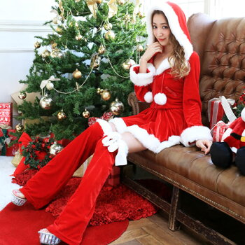 サンタコスプレ長袖サンタコスサンタクロースクリスマスコスチューム激安大きいサイズ衣装コスセクシーパーティサンタコスプレクリスマスコスプレサンタコスチューム赤レッド黒ブラックブラックサンタフードレッグウォーマーレディースファッション
