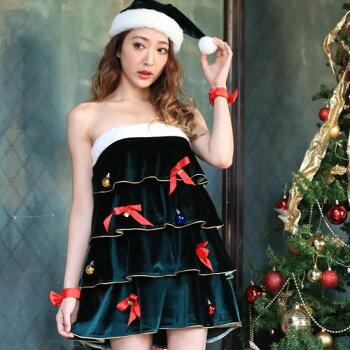 クリスマスツリーコスプレコスチュームツリークリスマス衣装仮装コス激安大きいサイズクリスマスコスプレクリスマスコスチューム緑グリーンサンタサンタコスプレサンタコスサンタクロース2016ワンピースパンツ帽子レディースレディースファッション