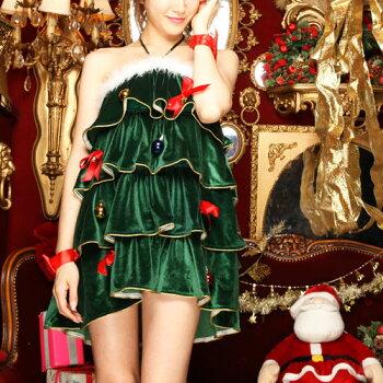 クリスマスツリーコスプレコスチュームツリークリスマス衣装仮装コス激安大きいサイズクリスマスコスプレクリスマスコスチューム緑グリーンサンタサンタコスプレサンタコスサンタクロース2016ワンピースパンツ大人レディースレディースファッション