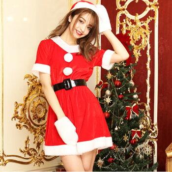 サンタコスプレ激安サンタコスクリスマス大きいサイズコス衣装コスチューム仮装セクシーサンタクロースパーティサンタコスプレセクシーサンタサンタコスチュームレディースワンピース大人小物手袋サンタ帽子赤レッド2016レディースファッション冬