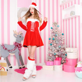 サンタコスプレ激安サンタコス衣装コスクリスマスコスチューム大きいサイズセクシーサンタクロースパーティレッグウォーマーアームウォーマーサンタ帽子サンタコスプレサンタ衣装ワンピースリボン帽子赤レッド2016レディースレディースファッション