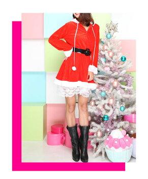 サンタコスプレ長袖激安サンタコスクリスマス大きいサイズコス衣装コスチュームセクシーサンタクロースパーティサンタコスプレセクシーサンタサンタコスチュームレディースワンピース大人小物フードサンタ帽子赤レッド2016レディースファッション