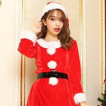 サンタコスプレ激安長袖サンタコスクリスマス大きいサイズコス衣装コスチューム仮装セクシーサンタクロースパーティサンタコスプレクリスマスコスプレサンタコスチュームレディースワンピース大人サンタ帽子帽子赤レッド2016レディースファッション