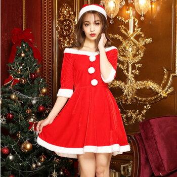 サンタコスプレ激安長袖サンタコスクリスマス大きいサイズコス衣装コスチューム仮装セクシーサンタクロースパーティサンタコスプレセクシーサンタクリスマスコスプレレディースワンピース大人帽子サンタ帽子赤レッド2016レディースファッション冬