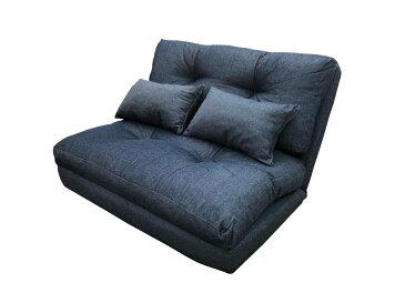 デニム調 3way ソファーベット カジュアル コンパクト ベッド ソファーベッド 二人掛け お洒落 おしゃれ 一人暮らし リビング 14段階リクライニング ローソファー クッション付き タンプレ 誕プレ 座椅子 新生活 枕付 クッション付 カップル SGS-18DDM AZSGS-18DDM