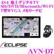 イクリプス AVN-D7 ドライブレコーダー内蔵 フルセグ地デジ/SD/DVD/Bluetooth/Wi-Fi内蔵 2DIN AV一体型メモリーナビ