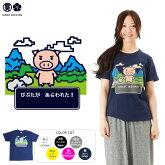 豊天商店美豚シリーズブタクエつむぎ天竺半袖Tシャツ【Tシャツぶーでん和柄】