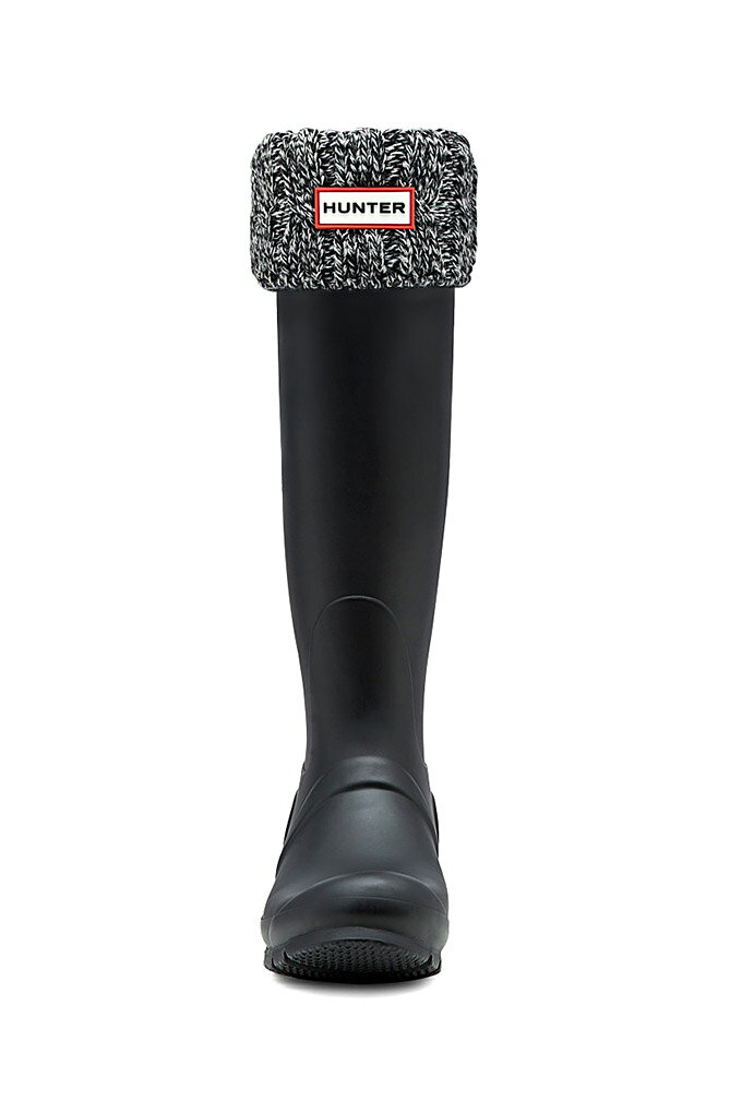 ハンター オリジナル シックス ステッチ ケーブル ブーツソックス ブラック×グレー (HUNTER ORIGINAL 6STITCH CABLE BOOT SOCKS UAS3036AAB BLACK/GREY)画像